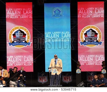 CANTON, OH-AUG 3: Former Dallas Cowboys offensive lineman Larry Allen gives his speech during the NFL Class of 2013 Enshrinement Ceremony at Fawcett Stadium on August 3, 2013 in Canton, Ohio.