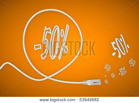 3D Render Of A -50 Discount Symbol Formed By An Cable