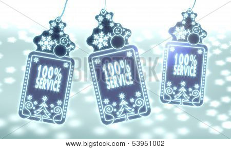 Three Christmas Labels With Service Sign