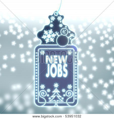 Magic Christmas Label With New Jobs Sign