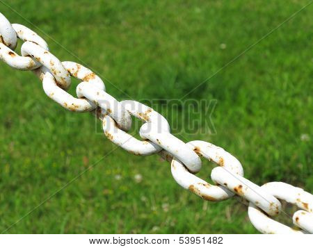 Steel Metal Chain Links Segment Green Background