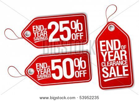 End of year sale savings labels set.