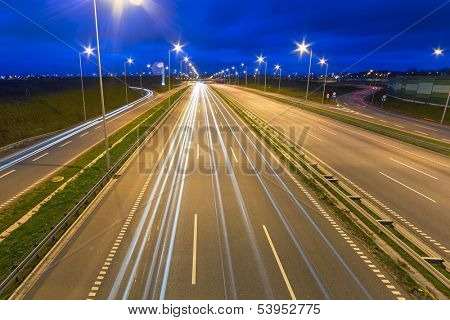 Highway bypass of Gdansk at night, Poland