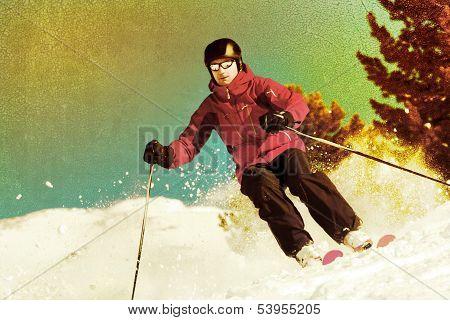 Backcountry Skier Retro Styled