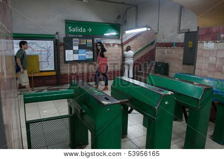 BUENOS AIRES, ARGENTINA - NOV 30: Scene in the Buenos Aires subway, Nov 30, 2010 in Buenos Aires, Argentina. Rapid transit system of lines opened Dec 1, 1913. Passenger traffic for the year 328.5 mil.