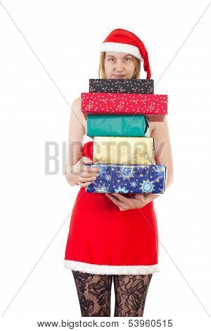 Beautiful Mrs. Claus With Many Gifts For You