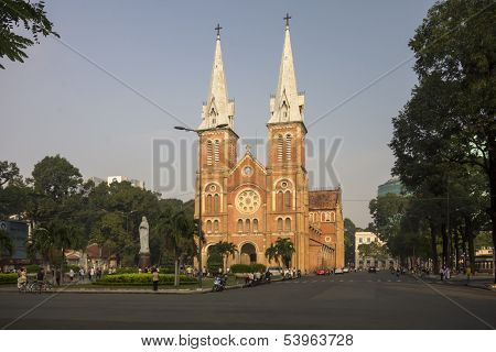 Ho Chi Minh City, Vietnam-nov 3Rd: Notre Dame Bailica Bathed In Early Morning Sunlight On November 3
