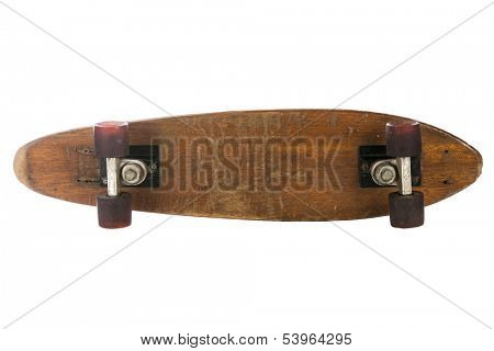 Wooden 70's skate board on a white background, could be used for sign board