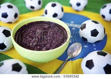 Soccer Balls and Acai on Brazilian Flag