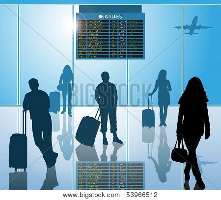 airline passengers with luggage in airport