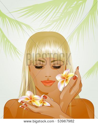 attractive blond woman with frangipani flowers