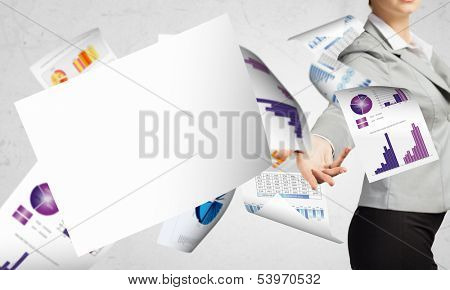 Businesswoman, secretary throwing paper documents. Office life concept