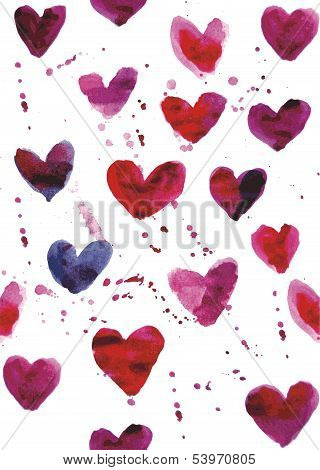 Seamless Heart Watercolor Pattern
