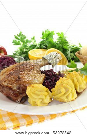 Hot Duck Leg With Red Cabbage