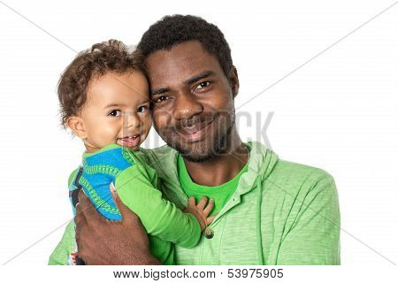 Happy Black Father And  Baby Boy Cuddling On Isolated White Background  Use It For A Child, Parentin