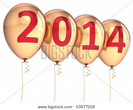 Happy New Year 2014 balloons party decoration gold. Celebration helium balloon golden