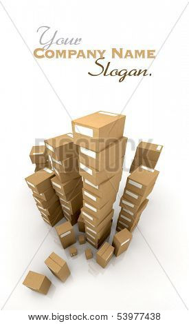 Extremely high  piles of cardboard boxes in equilibrium