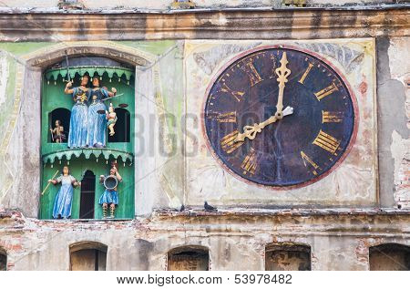 ancient clock on a medieval church