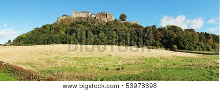 View of Stirling castle perched on a hill by a nice day