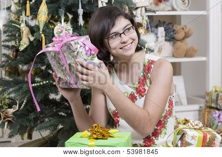 Young girl with Christmas gift
