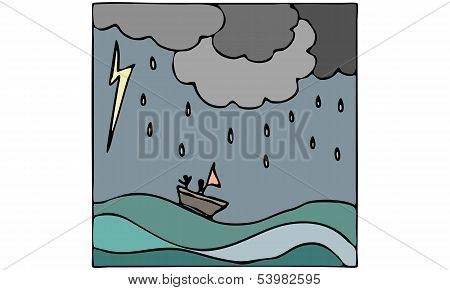 Vector Illustration of Storm at Sea with Ocean Waves, Boat, Rain and Lightning