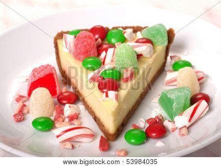 Delicious Festive Christmas Cheesecake with assorted candies