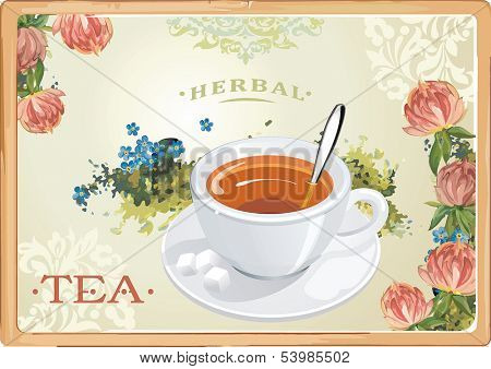 Abstract herbal tea leaf clover