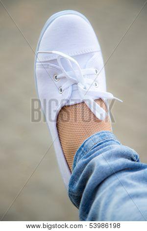 Foot in sneaker