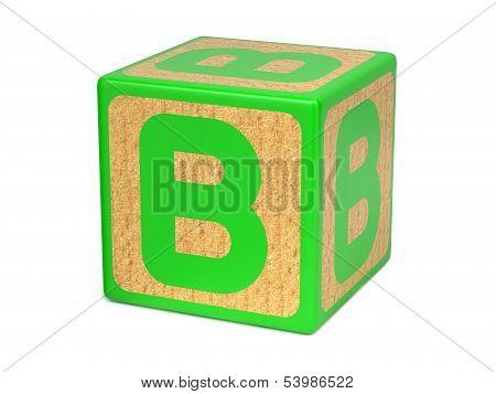 Letter B on Childrens Alphabet Block.