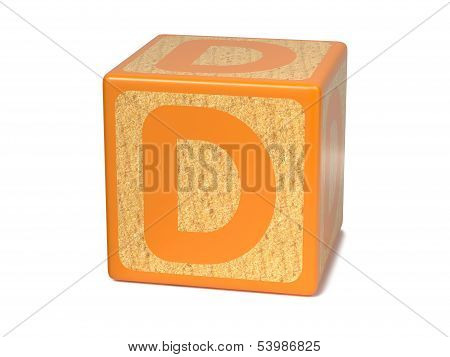 Letter D on Childrens Alphabet Block.