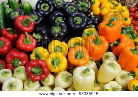 Assorted color of bell peppers background
