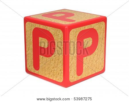 Letter P on Childrens Alphabet Block.