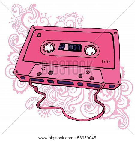 Audio cassette. Retro cassette tape