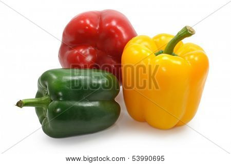 red, yellow and green paprika on white background, clipping path