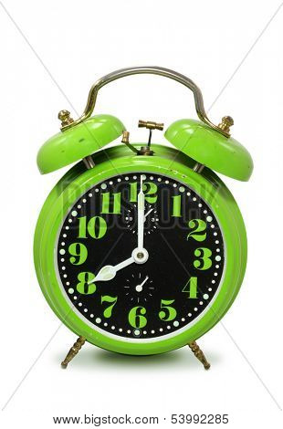 Old fashioned alarm clock  isolated on white background