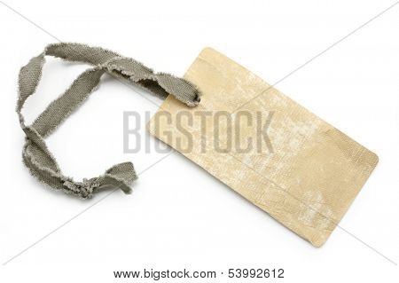 A blank beige tag isolated on white background