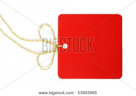 A blank red tag isolated on white background