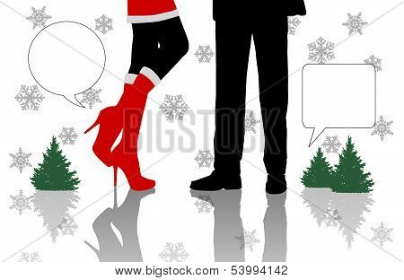 Dialogue Between Man And Woman Standing At Christmas Time