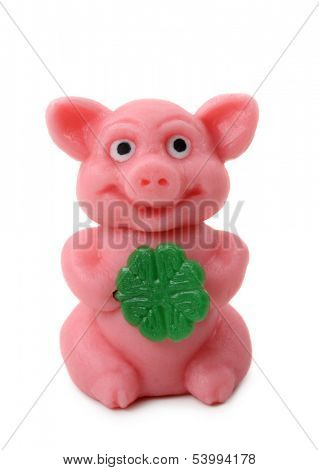 Good luck pig isolated on white background