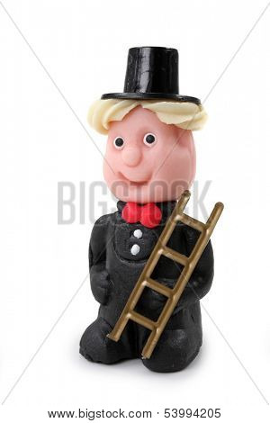 Marzipan chimney-sweep isolated on white background