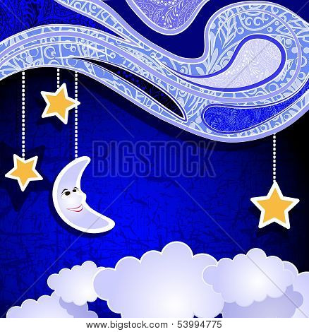 paper night, smiling moon, stars and clouds
