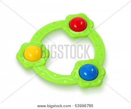 Baby rattle on white background