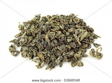 Gunpowder tea isolated on the white background