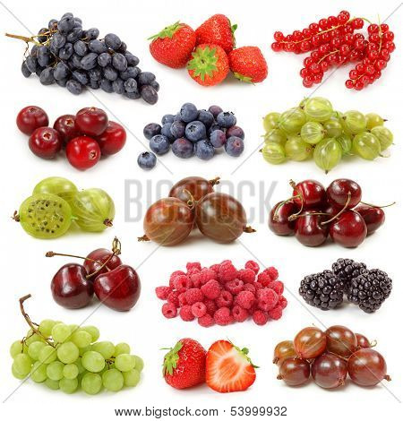 Fresh berries collection isolated on white background