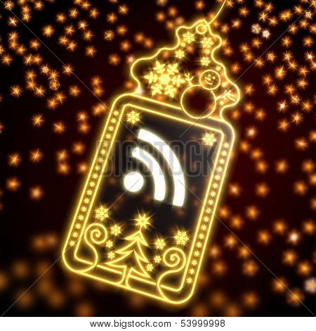 Noble Christmas Label With Wifi Sign