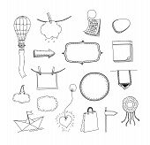 image of bubble sheet  - Vector doodle collection of hand drawn frames and signs with space for your text message and information - JPG