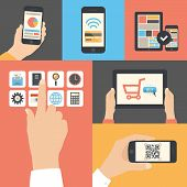 foto of electronic commerce  - Flat design modern vector illustration icons in stylish colors of hand touch screen with business icons apple iphone scanning qr - JPG