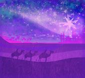 stock photo of desert christmas  - Classic three magic scene and shining star of Bethlehem  - JPG