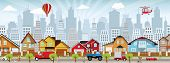 stock photo of suburban city  - Vector illustration of street in the city - JPG