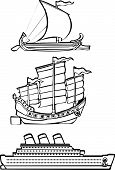pic of minos  - three simple ships from history illustrated in black and white - JPG